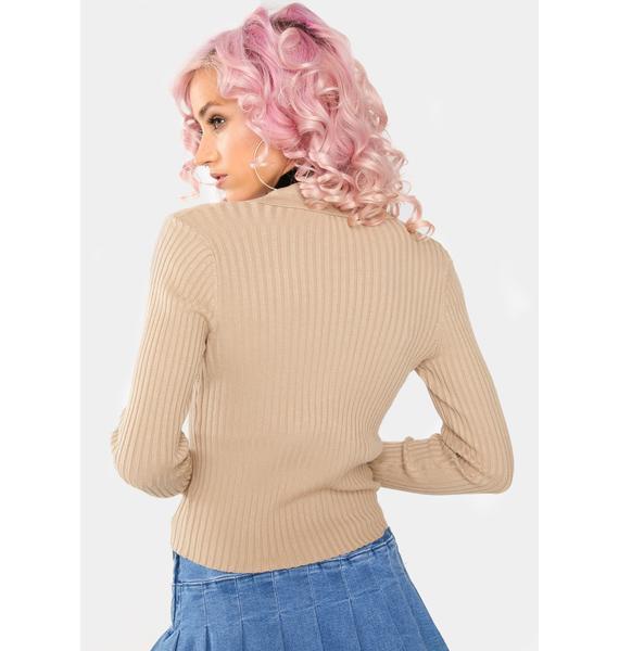Dress Forum  Taupe Collared Cardigan