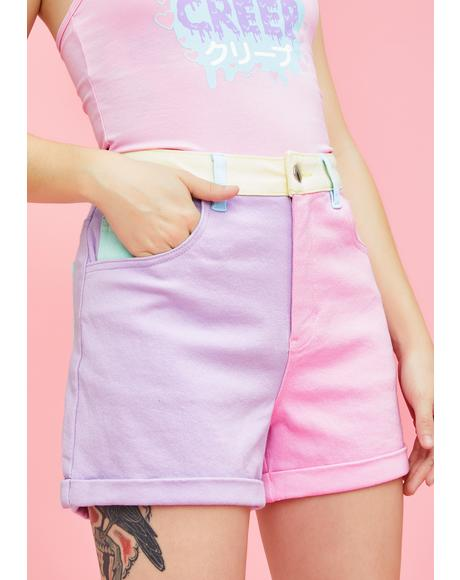 Crush On U Colorblock Shorts