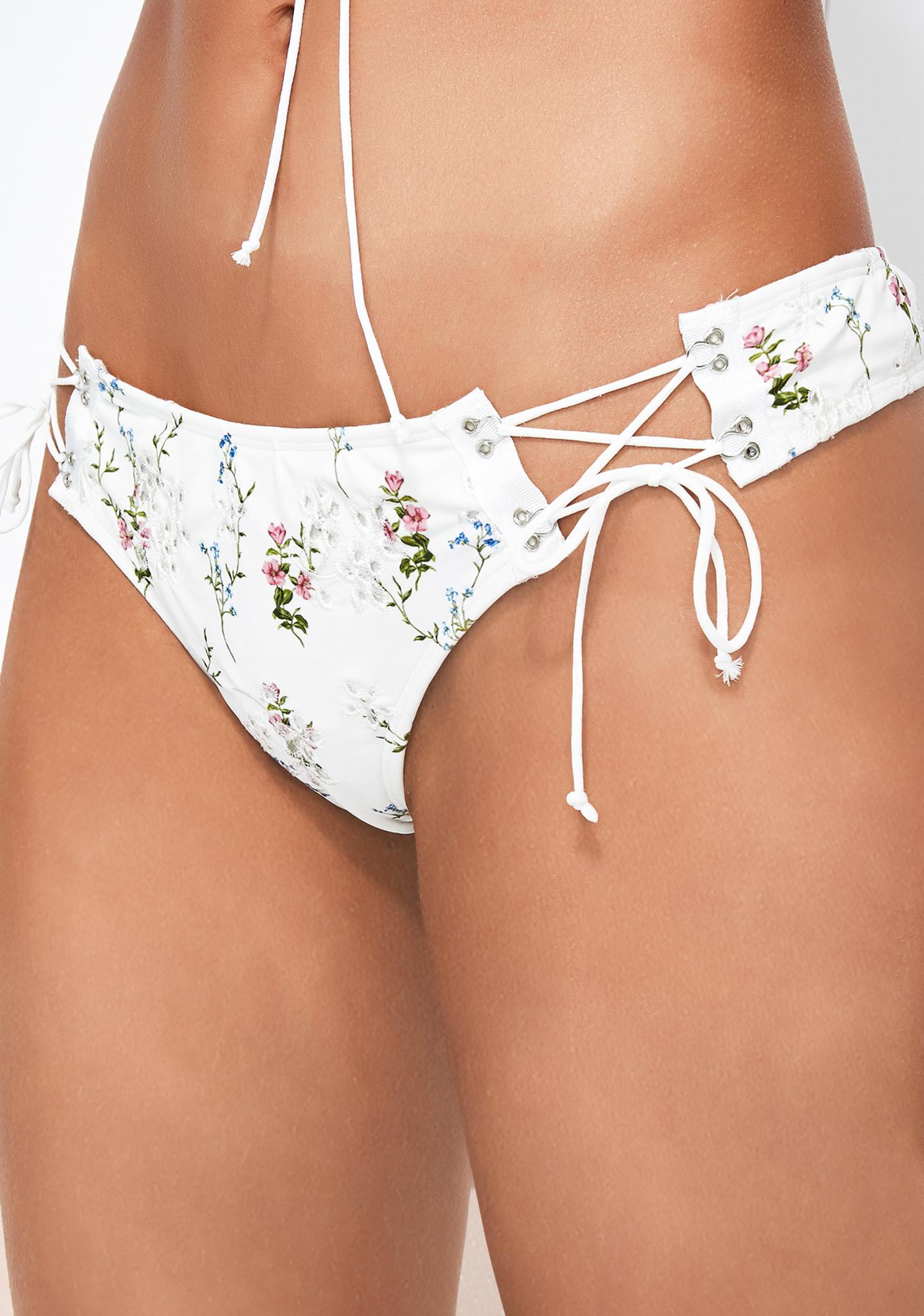 For Love & Lemons Christy Lace-Up Bikini Bottoms