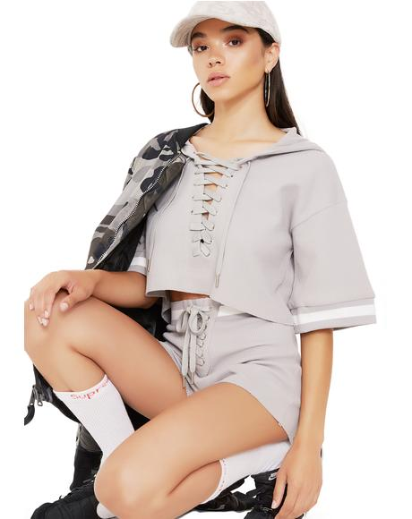 Cuddle Champ Cropped Lace-Up Hoodie