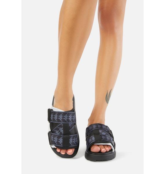 Kappa Black White 222 Banda Mitel 1 Sandals