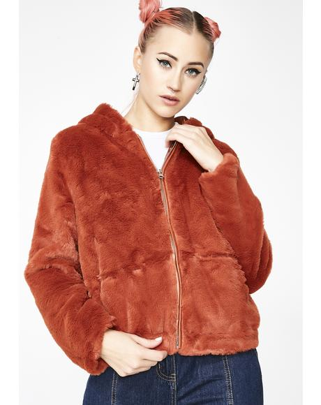 Rust Cuddle Buddy Fuzzy Jacket