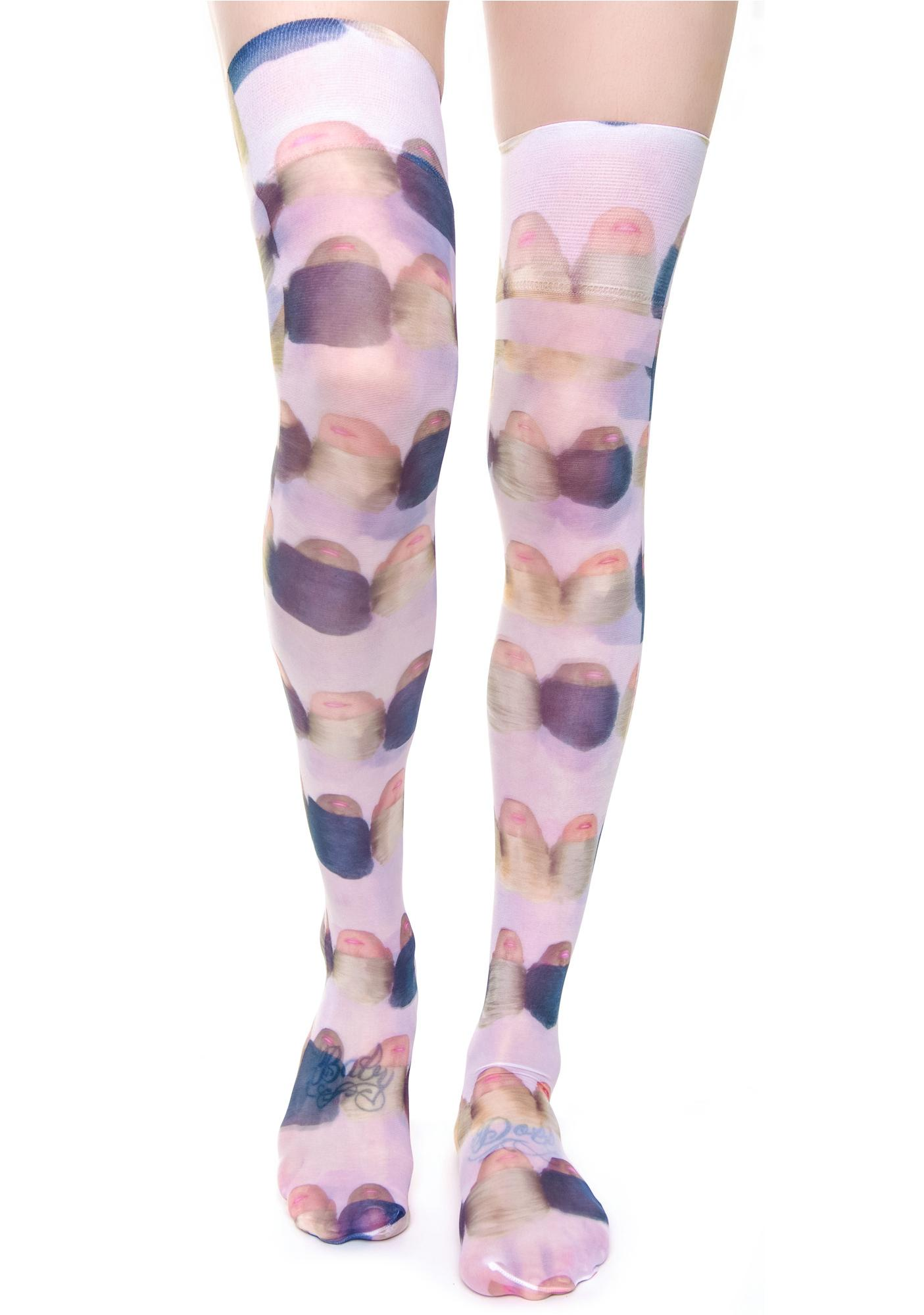Coveted Society Doll Heads Sheer Knee High Socks