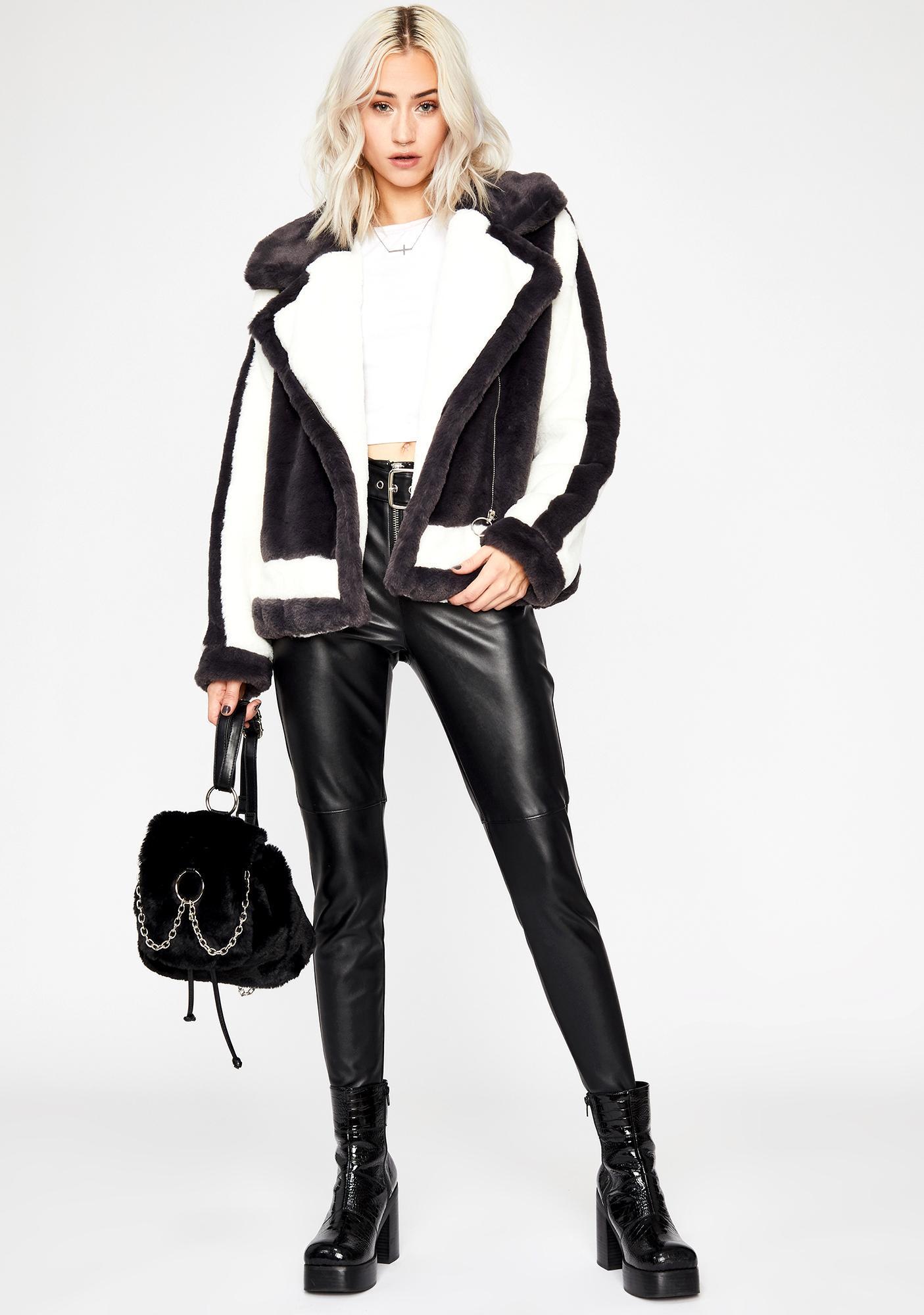Coal Comfort Zone Faux Fur Coat