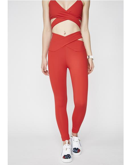 Crossed Cut Out Waist Leggings