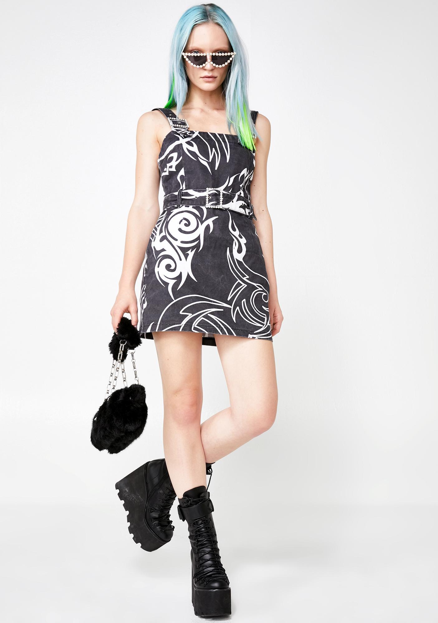 Jaded London Tribal Print Denim Mini Dress