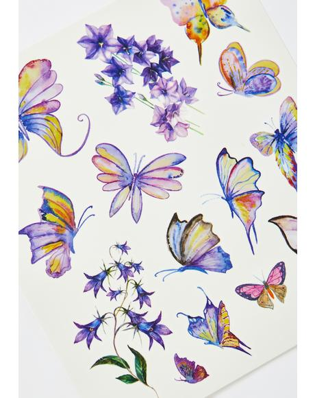 Magic Forever Flyer Butterfly Temporary Tattoos