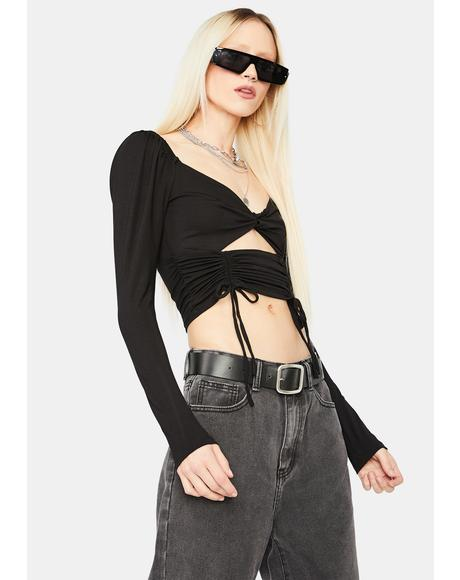Breakin' The Rules Cutout Ruched Crop Top