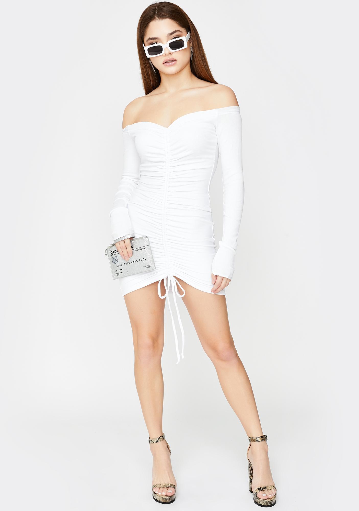 SNDYS. THE LABEL Angels Ruched Mini Dress