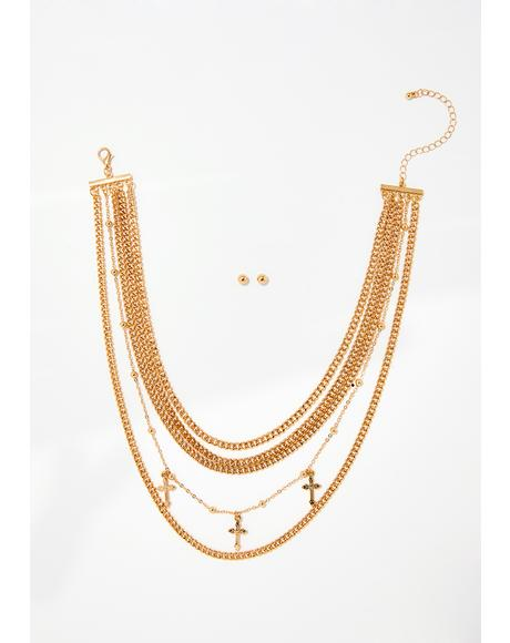 Holier Than Thou Necklace N' Earrings Set
