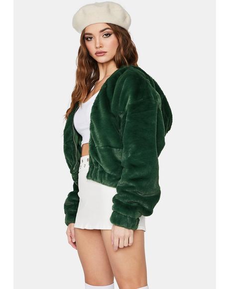 Forest Misty Petals Faux Fur Jacket