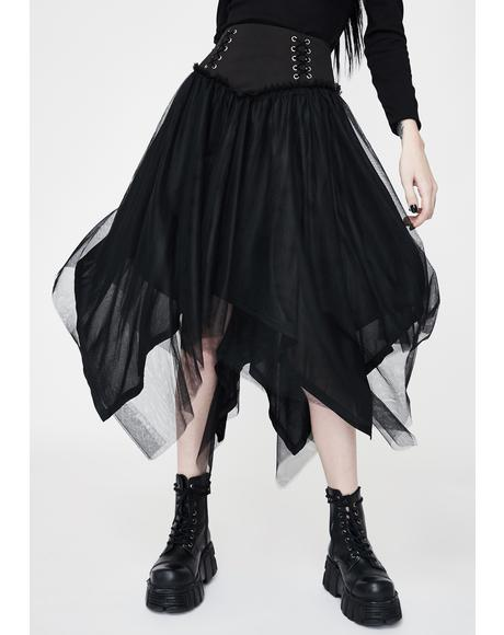 Lace Up Tulle Midi Skirt