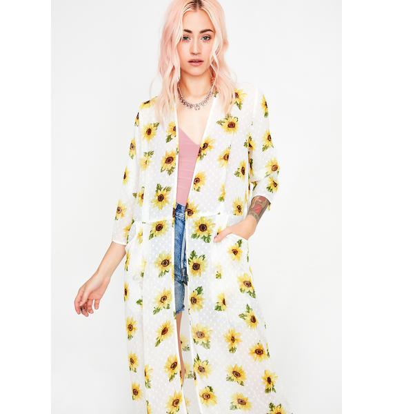 Icy Sassy Sunflower Kimono