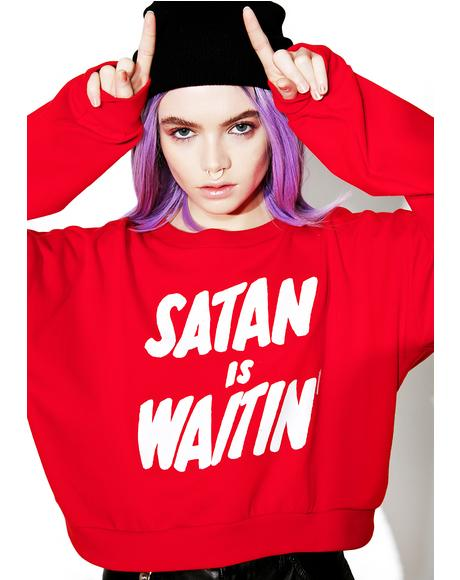 Satan Is Waitin' Cropped Fleece Pullover