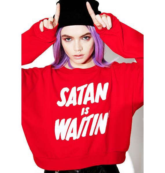 Creep Street Satan Is Waitin' Cropped Fleece Pullover
