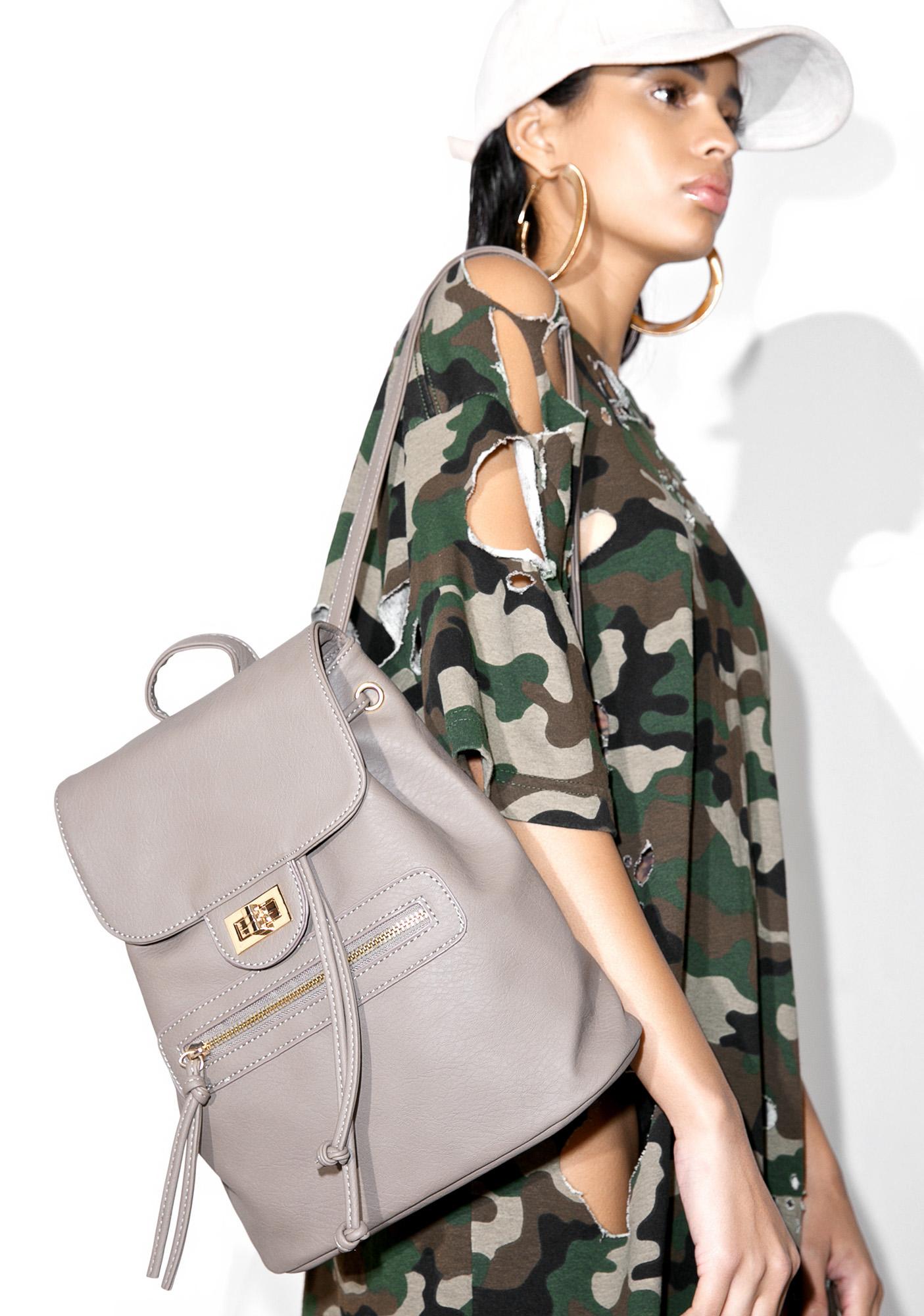 Grey Vegan Bucket Backpack