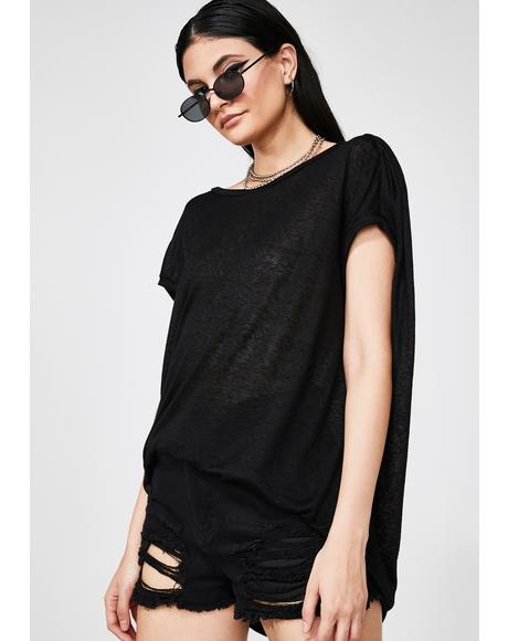 Dark Matrix Ruched Sleeve T-Shirt