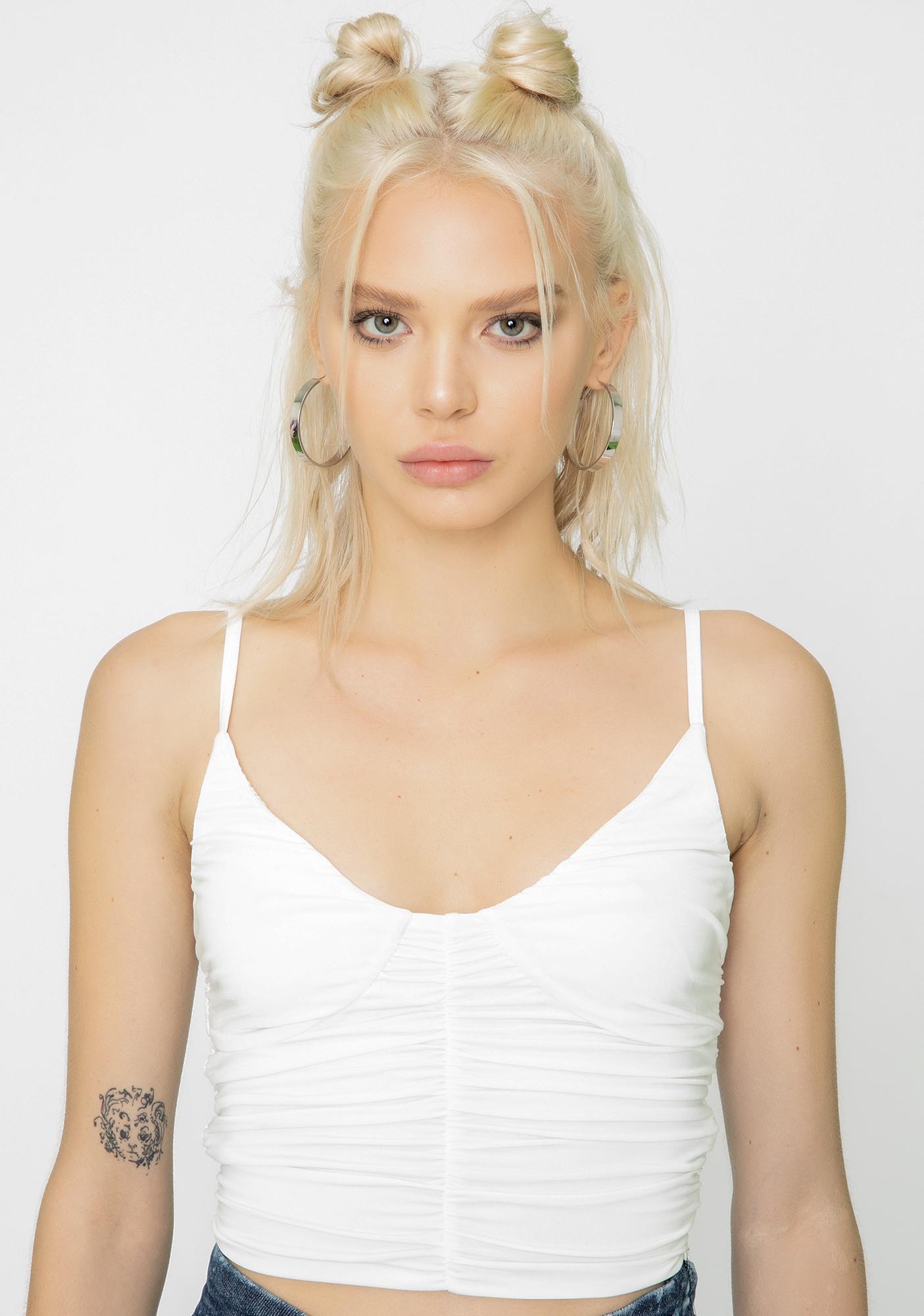 I AM GIA White Estella Crop Top
