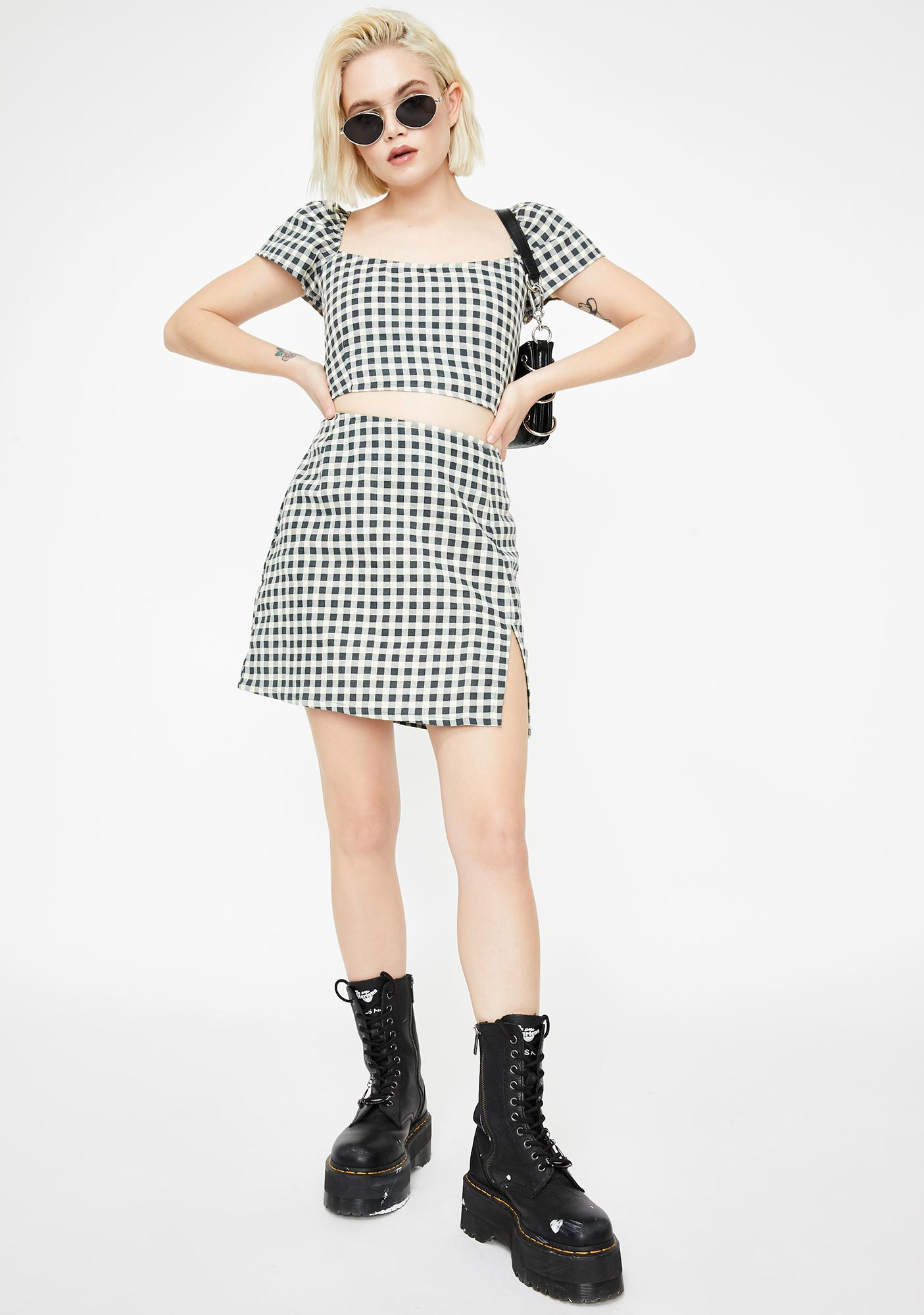 Motel Gingham Cream Cindy Crop Top