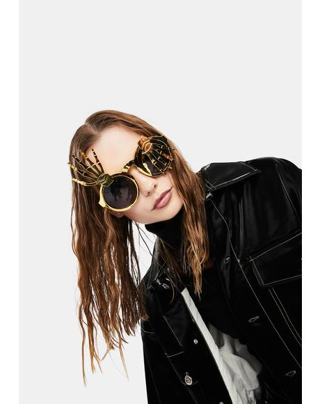 I'm Dead Skeleton Hand Circle Sunglasses