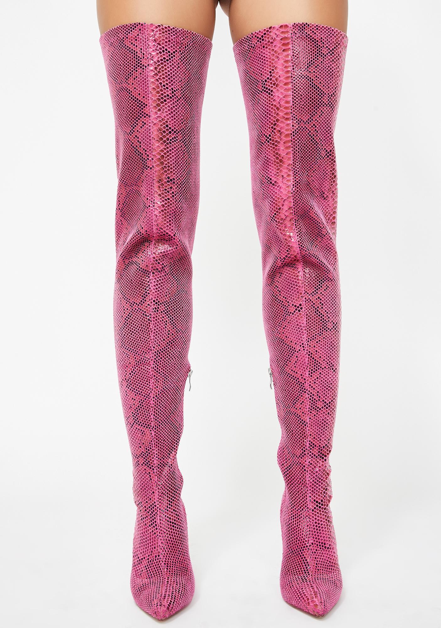 AZALEA WANG Phantom Snakeskin Boots