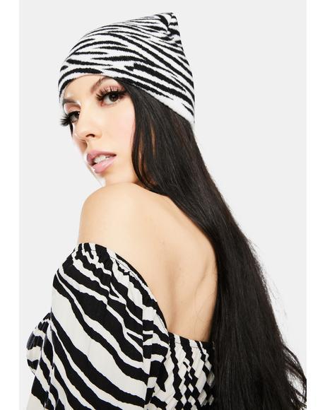 Wild & Free Zebra Knit Beanie