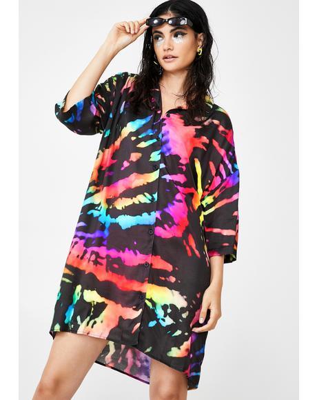 Rainbow Tie Dye Revere Collar Shirt Dress