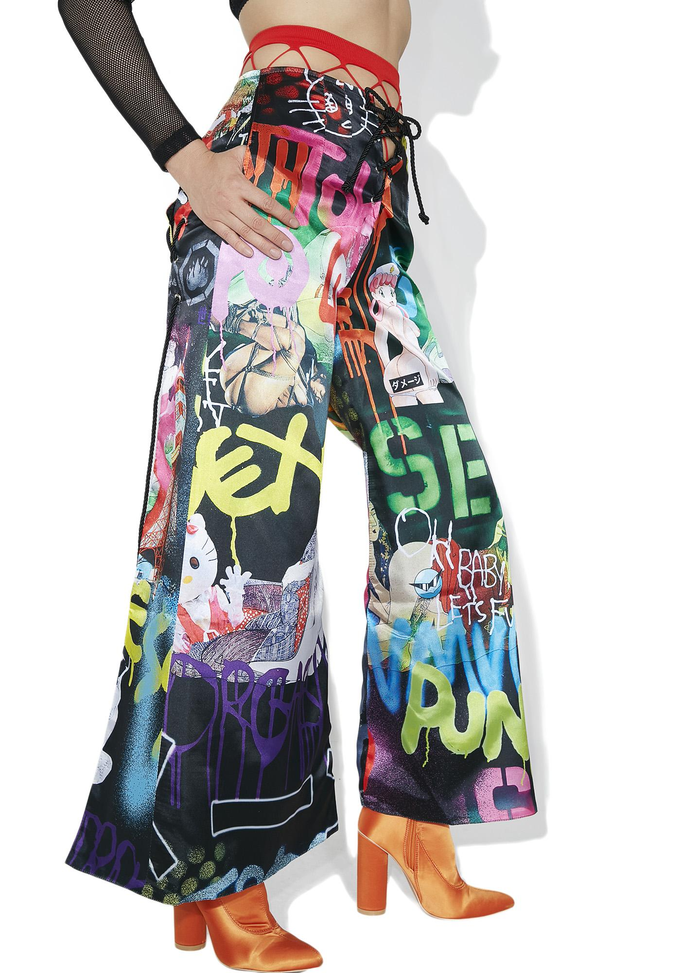 DAMAGE Tyo X Reversible Satin Pants