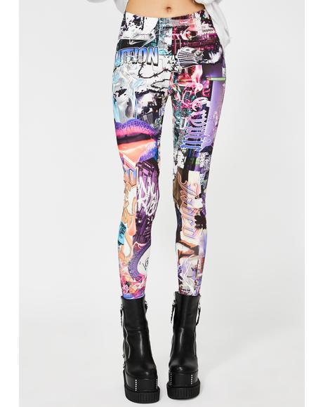 Lips Collage Print Leggings