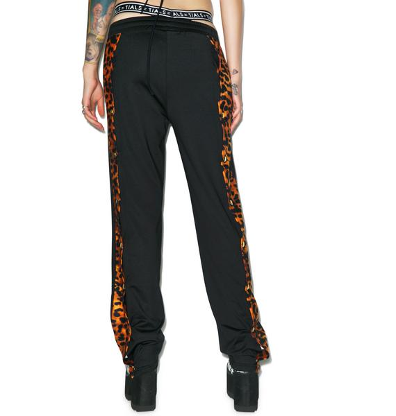 Illustrated People Leopard Popper Detail Tracksuit Bottoms