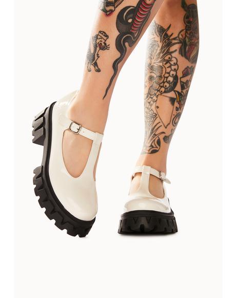 Beige Shin Platform Loafers