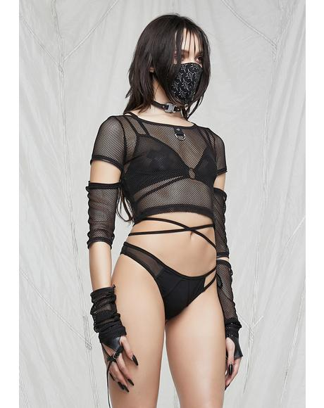 Synth Zipper Sleeve Fishnet Crop Top