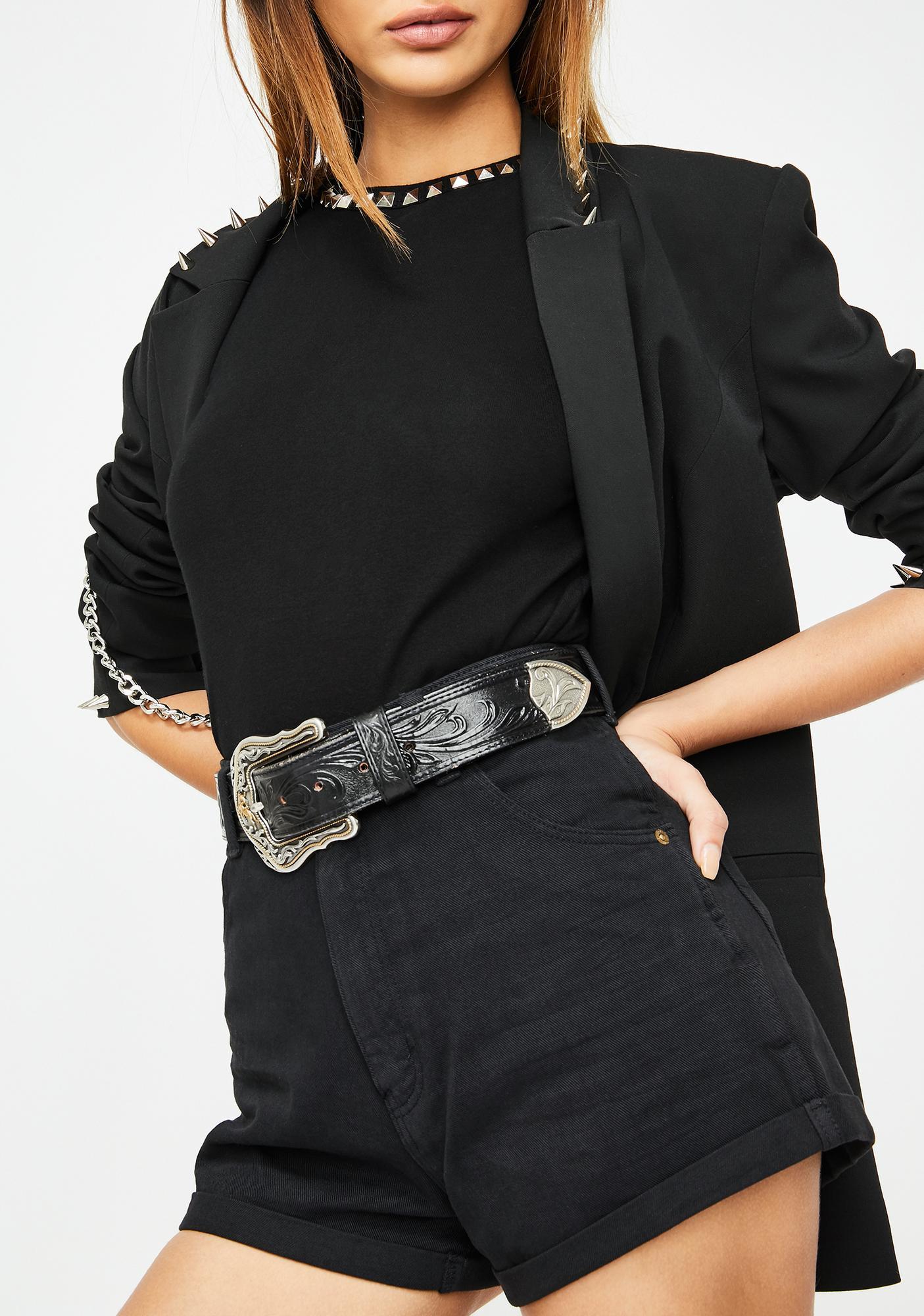 Rollas Black Duster Denim Shorts