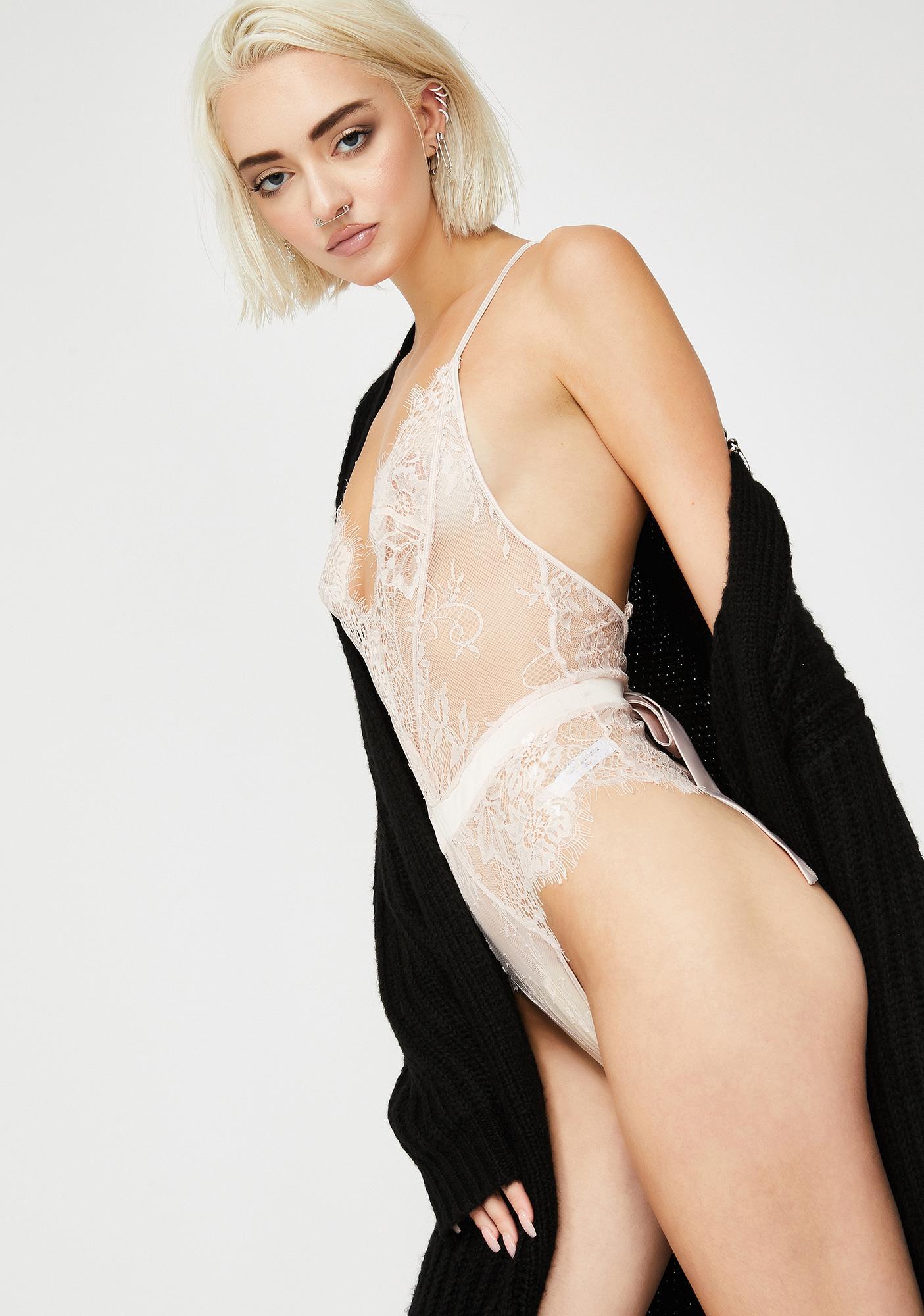 Oh la la Cheri Icy Scarlet Harlot Lace Bodysuit