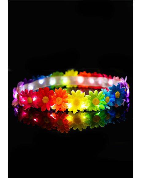 Rainbow Blooms LED Headband