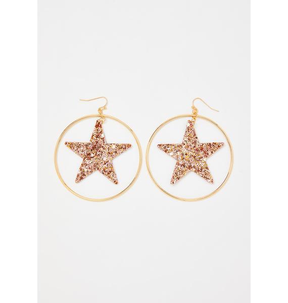 Gold You're My Superstar Hoop Earrings