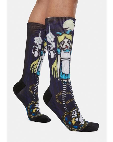 Alice Crew Printed Socks