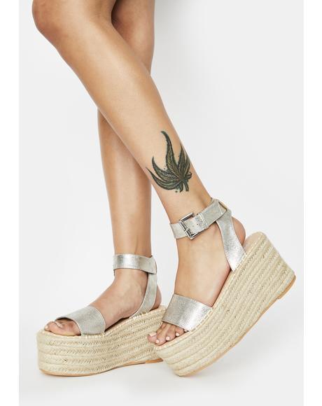 Silver Saffy Espadrille Flatform Sandals
