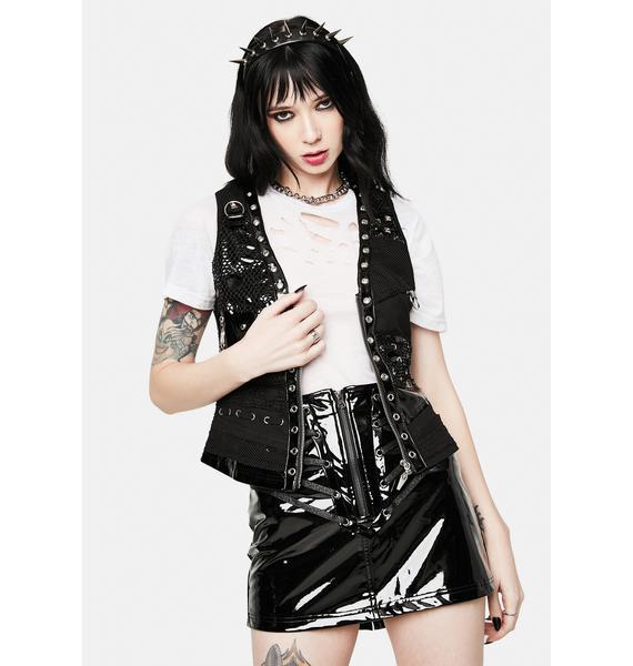 Devil Fashion Faux Leather Studded Vest Top