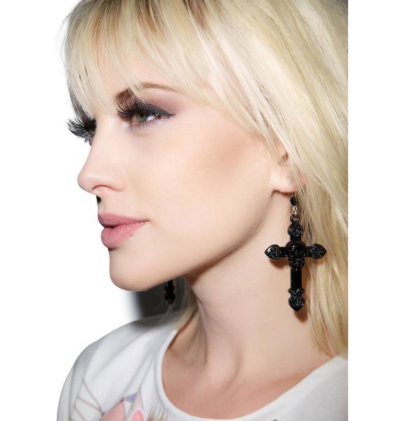 Tarina Tarantino Skull And Cross Drop Earrings
