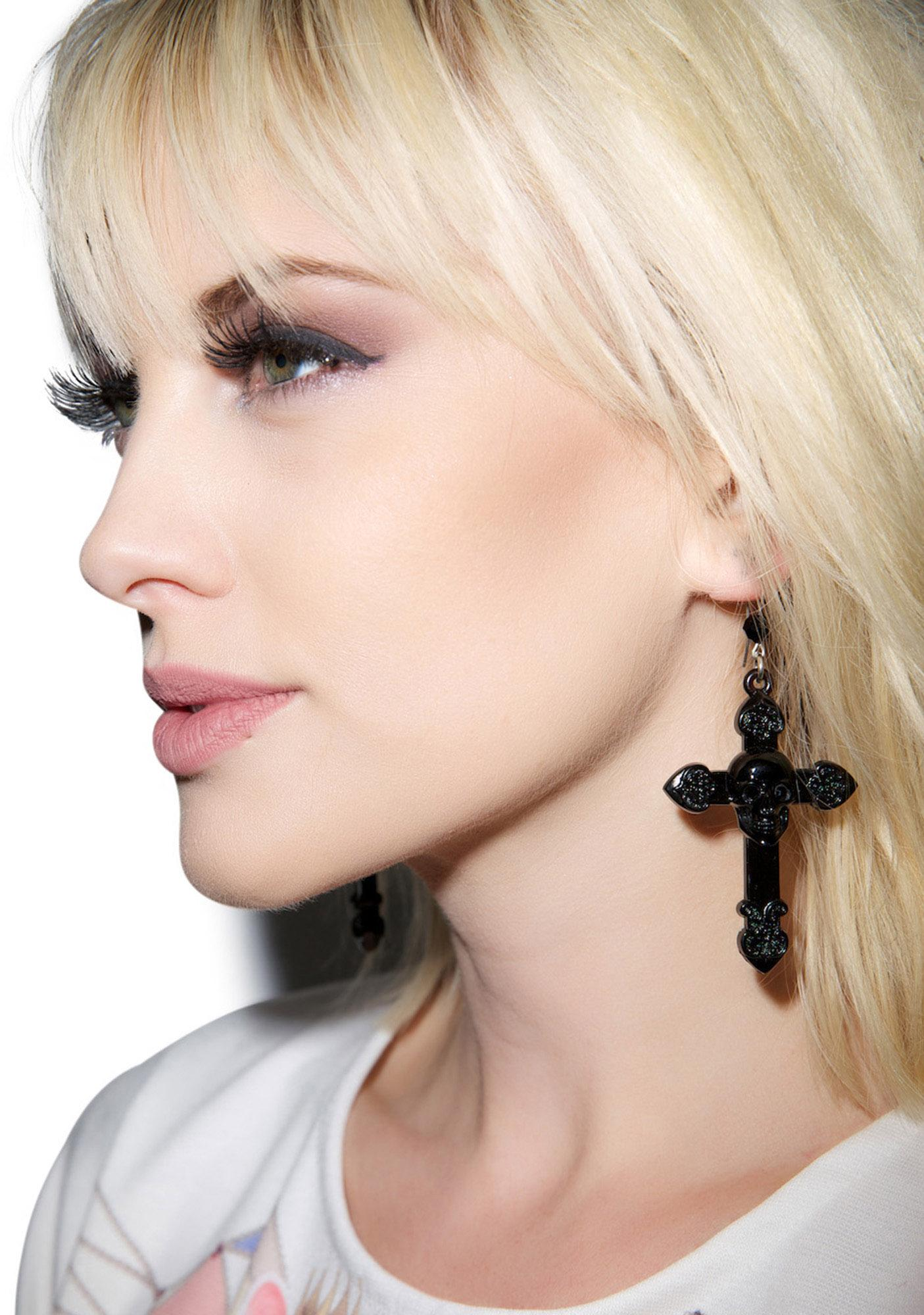 Tarina Tarantino Skull And Cross Drop Earrings