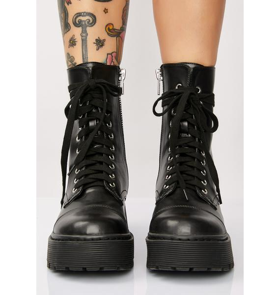 Current Mood Karma Police Combat Boots