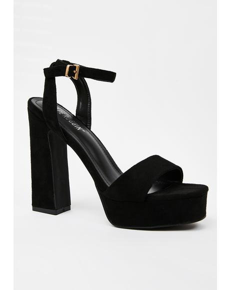 Midnight Curtain Call Platform Heels