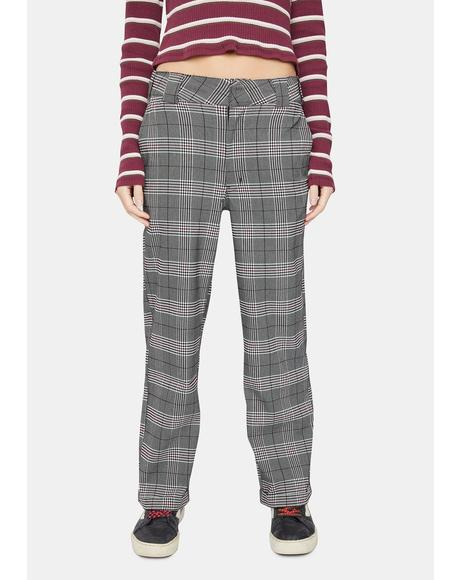 Grey Plaid Work Crop Roll Hem Pants
