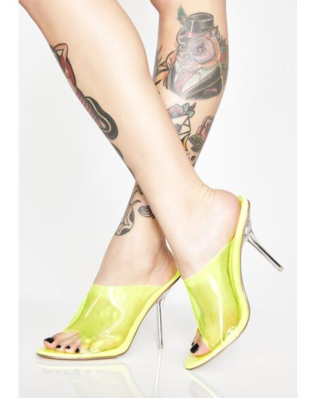 Neon Sunbeams Clear Mules