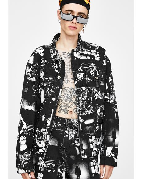 Punk Rock Photograph Print Denim Jacket