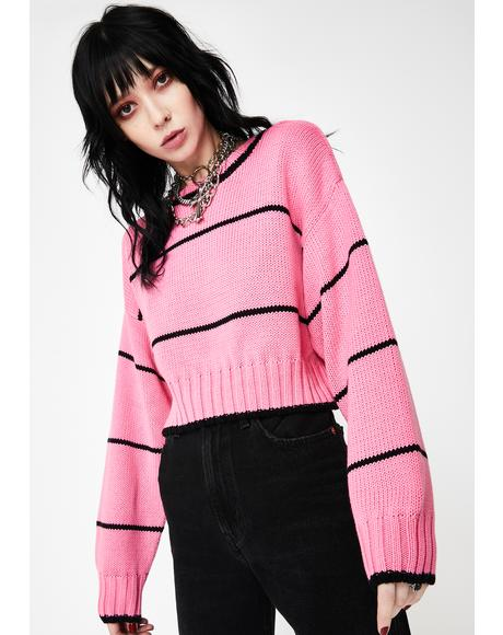 Pink Ella Cropped Sweater