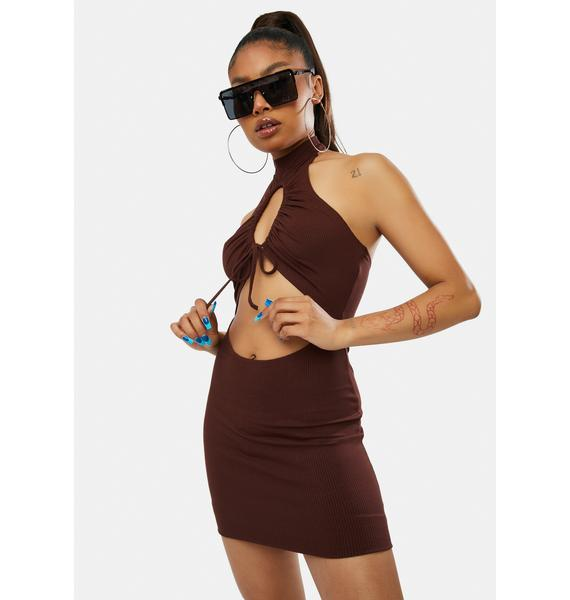 Umber Living The Dream Cut Out Halter Dress