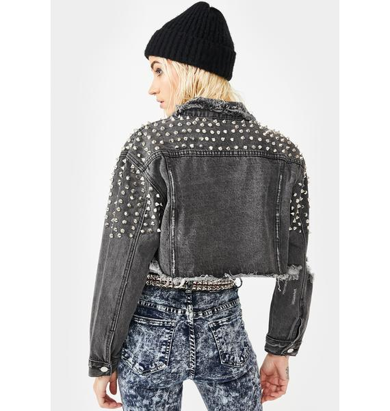 AZALEA WANG Lady Star Studded Denim Jacket