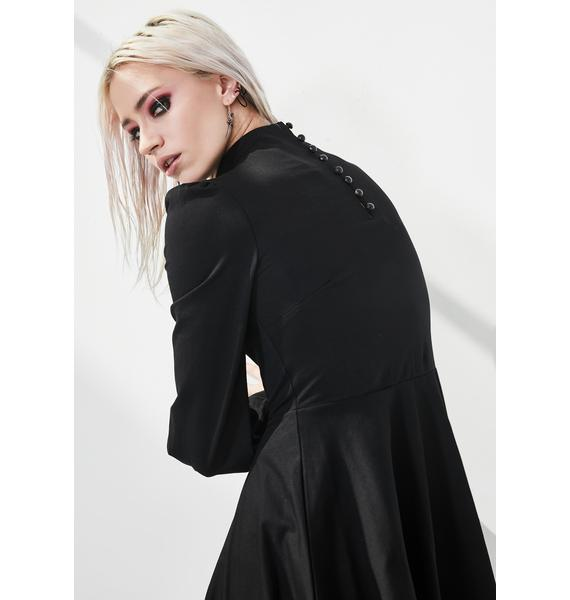 Punk Rave High Collar Lace Up Mini Dress